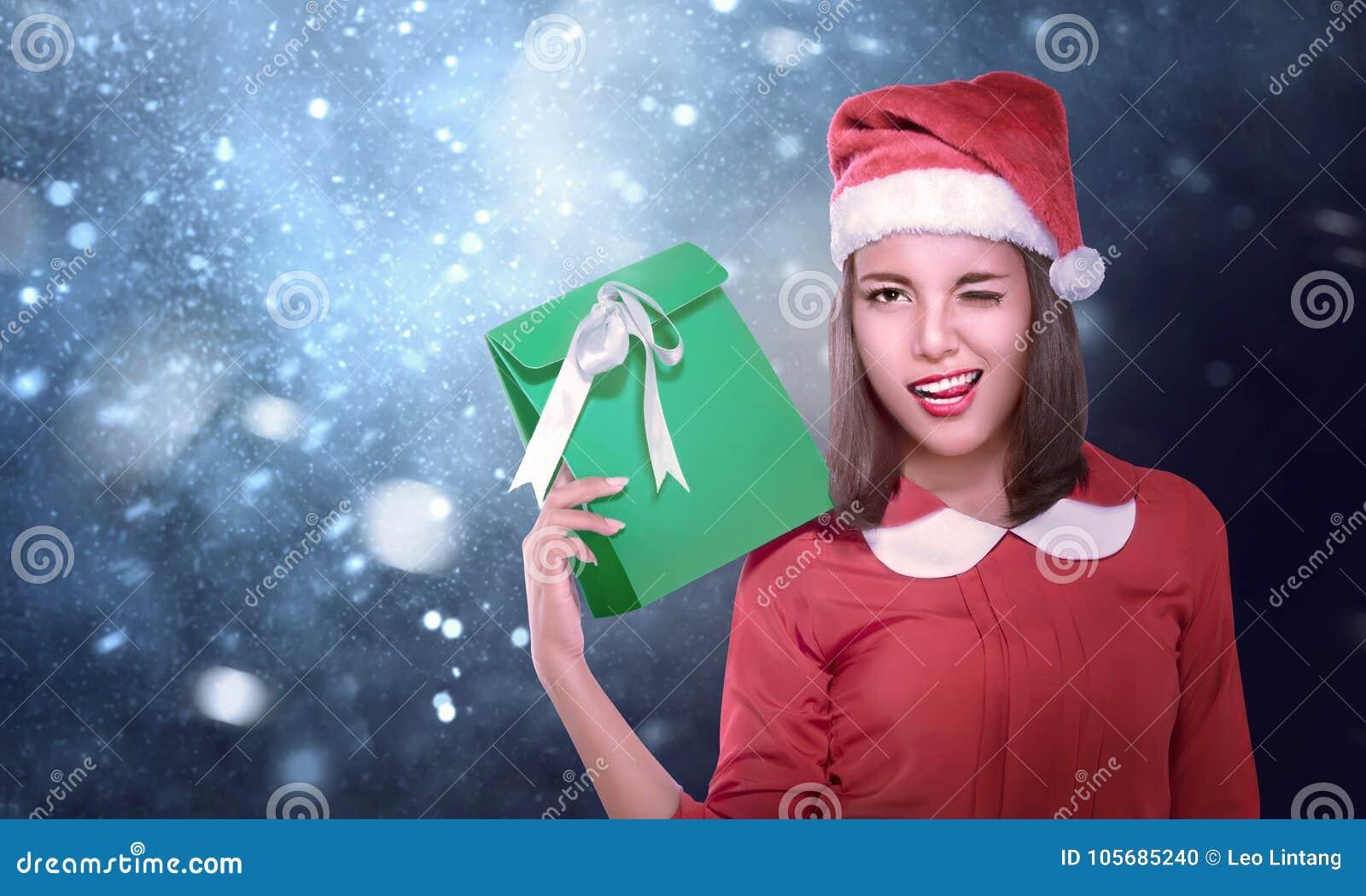 Sexy asiatische Mädchen Santa Hut #1