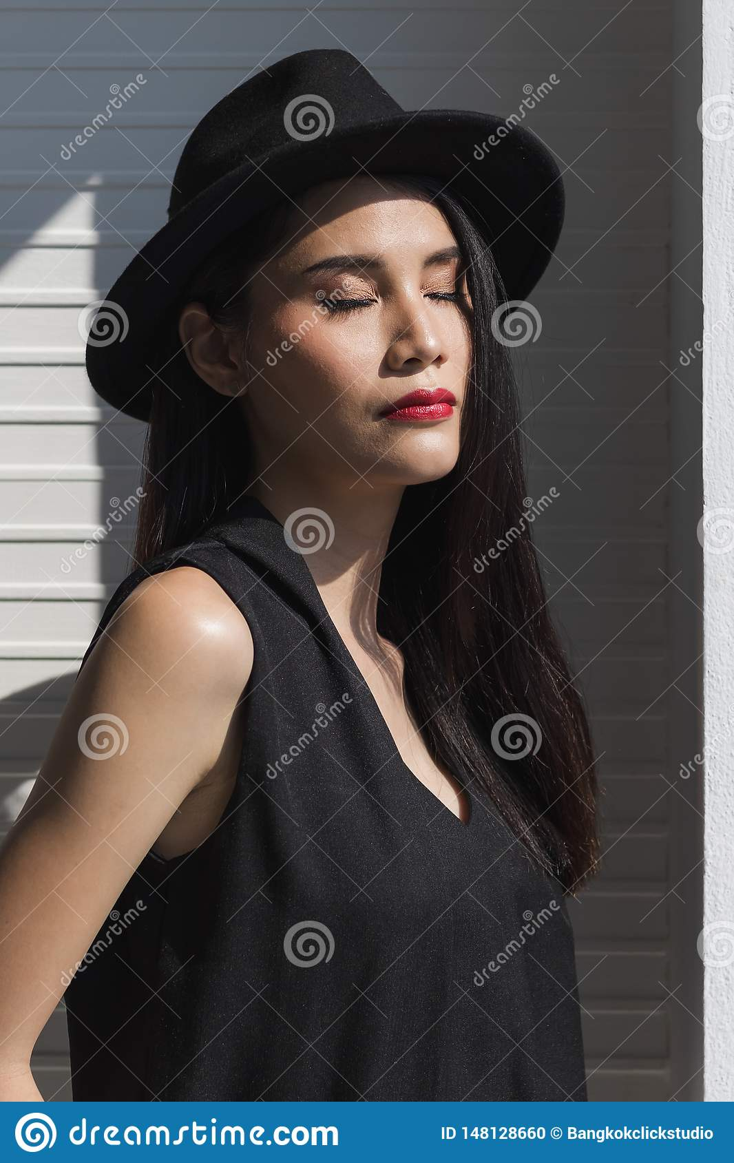 Asian model woman standing and posing