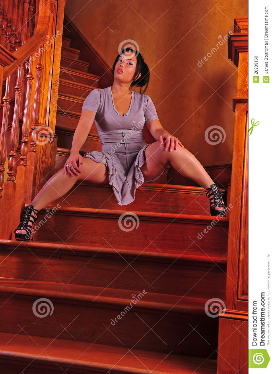 Asian Woman Waiting On Stairs Stock Photo Image 20933160