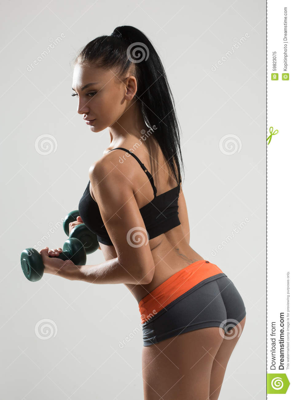 athletic woman with long hair working out stock image - image of