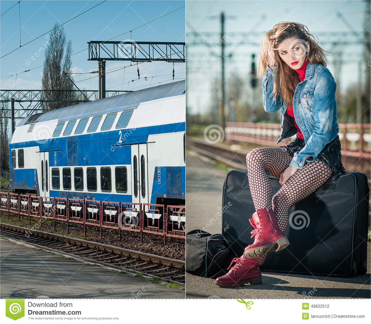 Attractive Girl With Red Head Boots Posing On The Platform