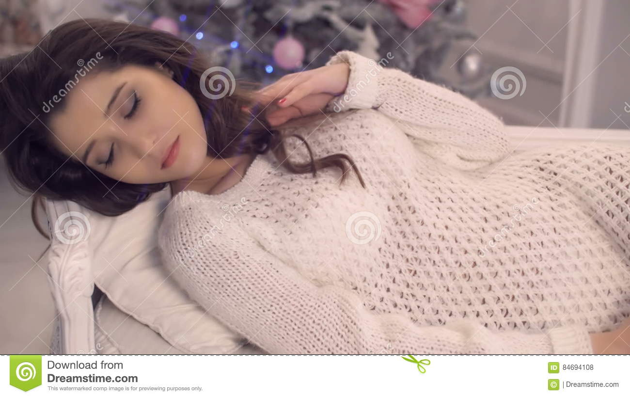 Naked girls in a sweater Beautiful Girl Wearing White Knited Sweater Over Naked Body Lying On The Couch With Christmas Tree On Background Stock Footage Video Of Blue Makeup 84694108