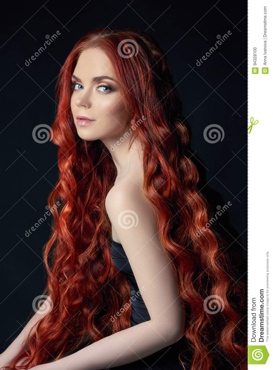 beautiful redhead girl with long hair. perfect woman portrait on