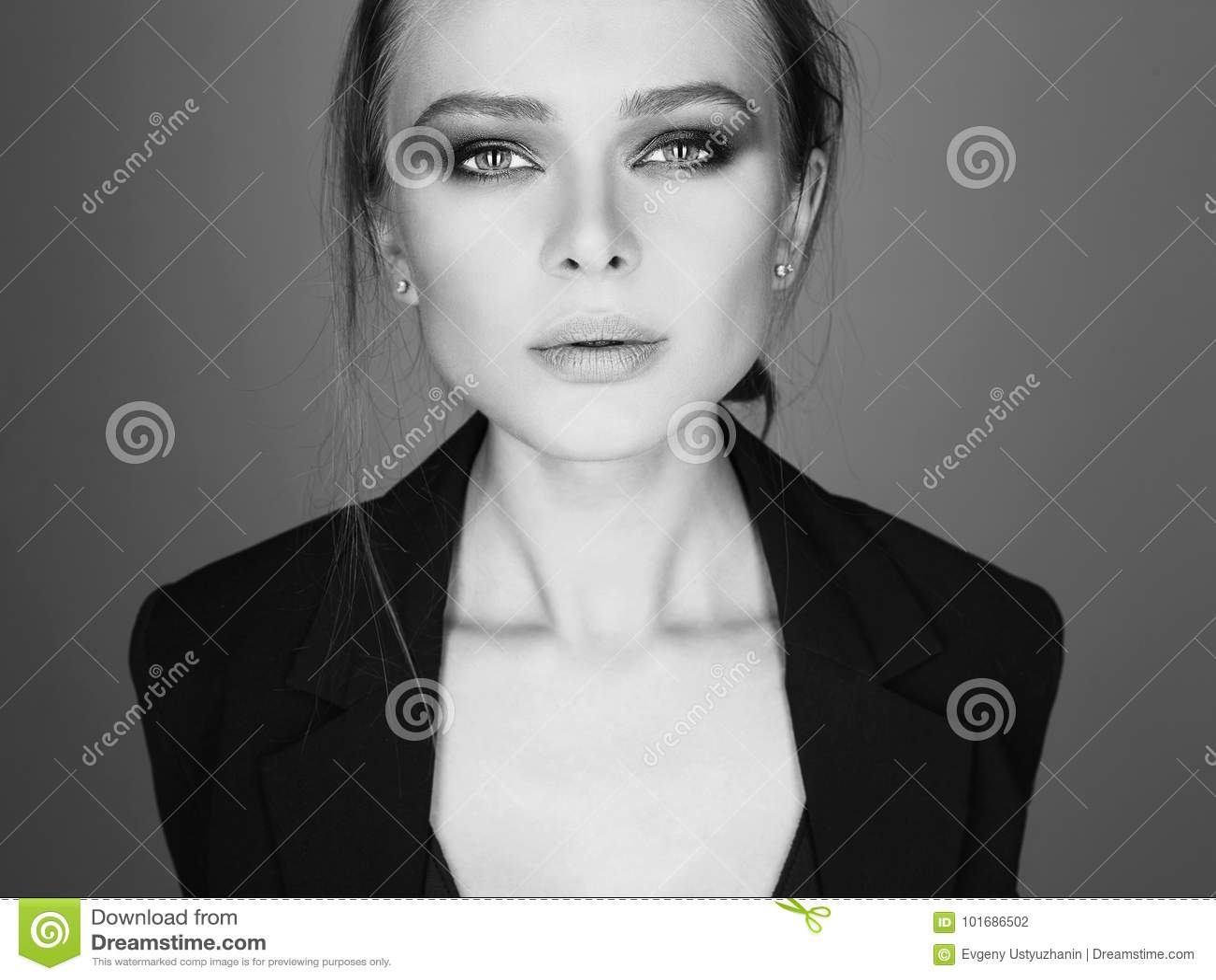 Beautiful woman sensual model girl black and white fashion portrait