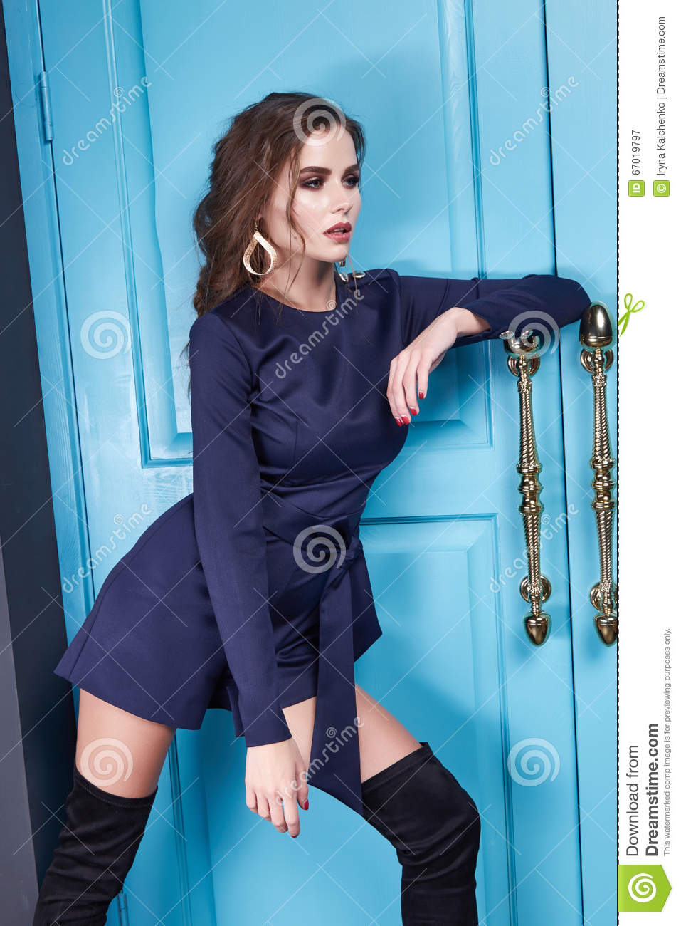 Beauty Woman Clothes Makeup Fashion Style Stock Image