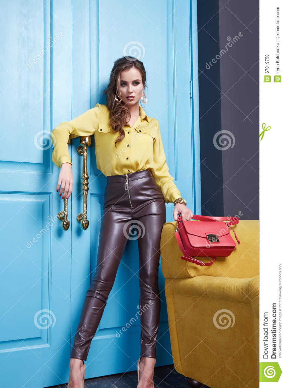 Beauty Woman Clothes Makeup Fashion Style Stock Photo
