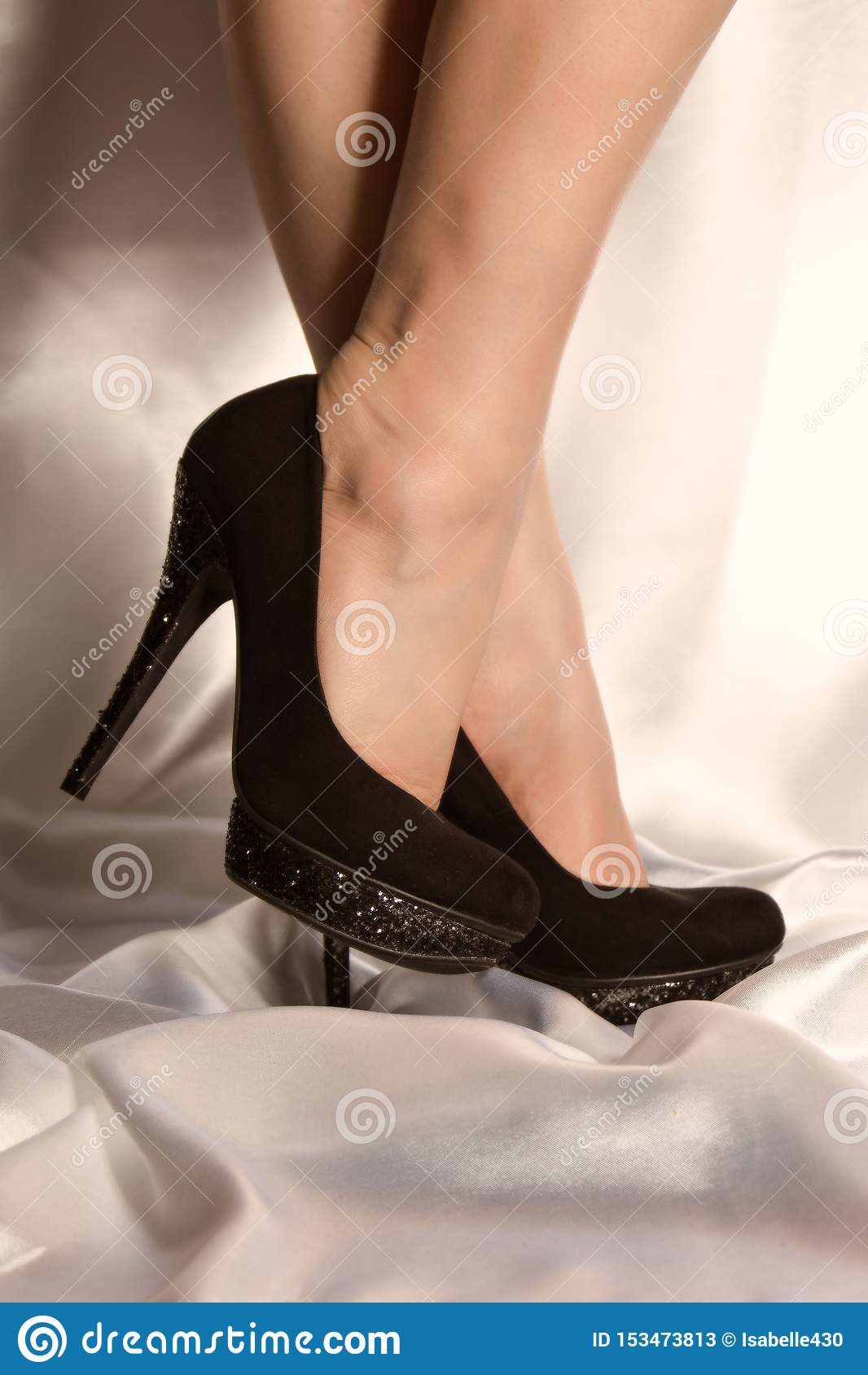 Black High Heels on Satin