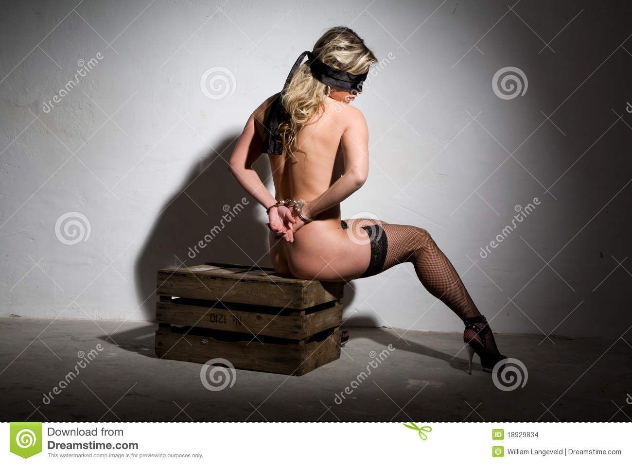 Sexy Blindfolded Nude Girl Bound In Dungeon Style Stock -2787