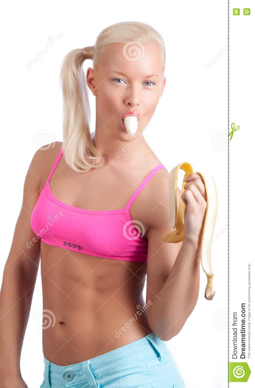 eating banana blonde Sexy