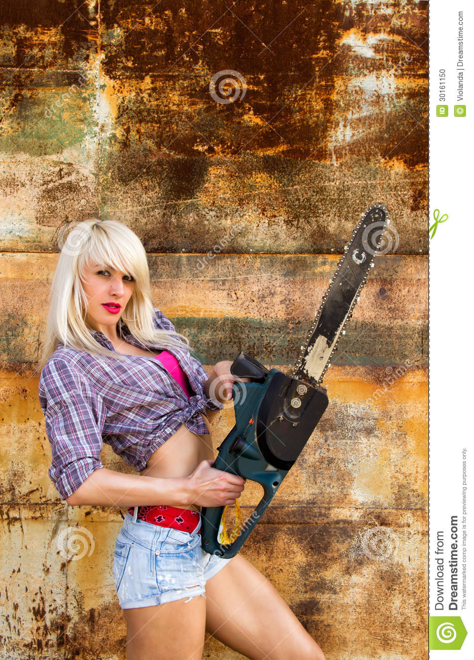 Girl Holding A Chainsaw Stock Photo Image Of Up Person