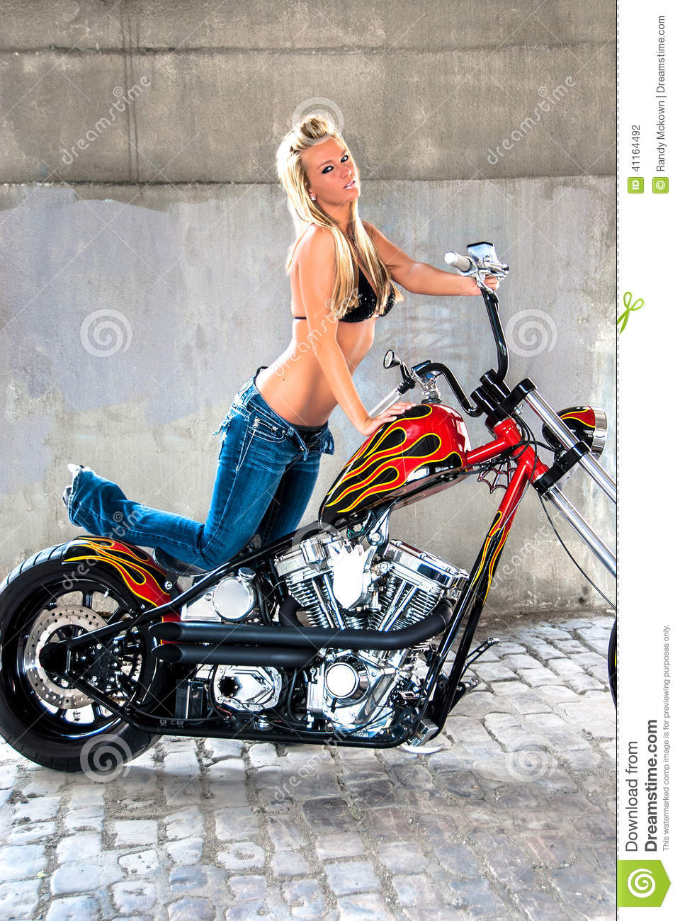 Blonde Girl On Motorcycle Stock Photo Image 41164492