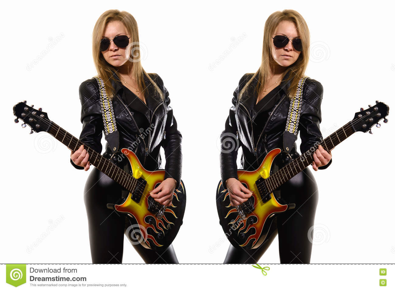 World Music Day. Two beautiful girls in leather jackets play the guitar.  Mirroring one young woman in sunglasses