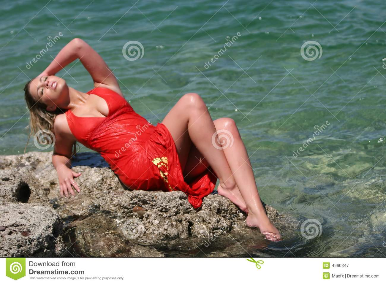 blonde girl with wet dress