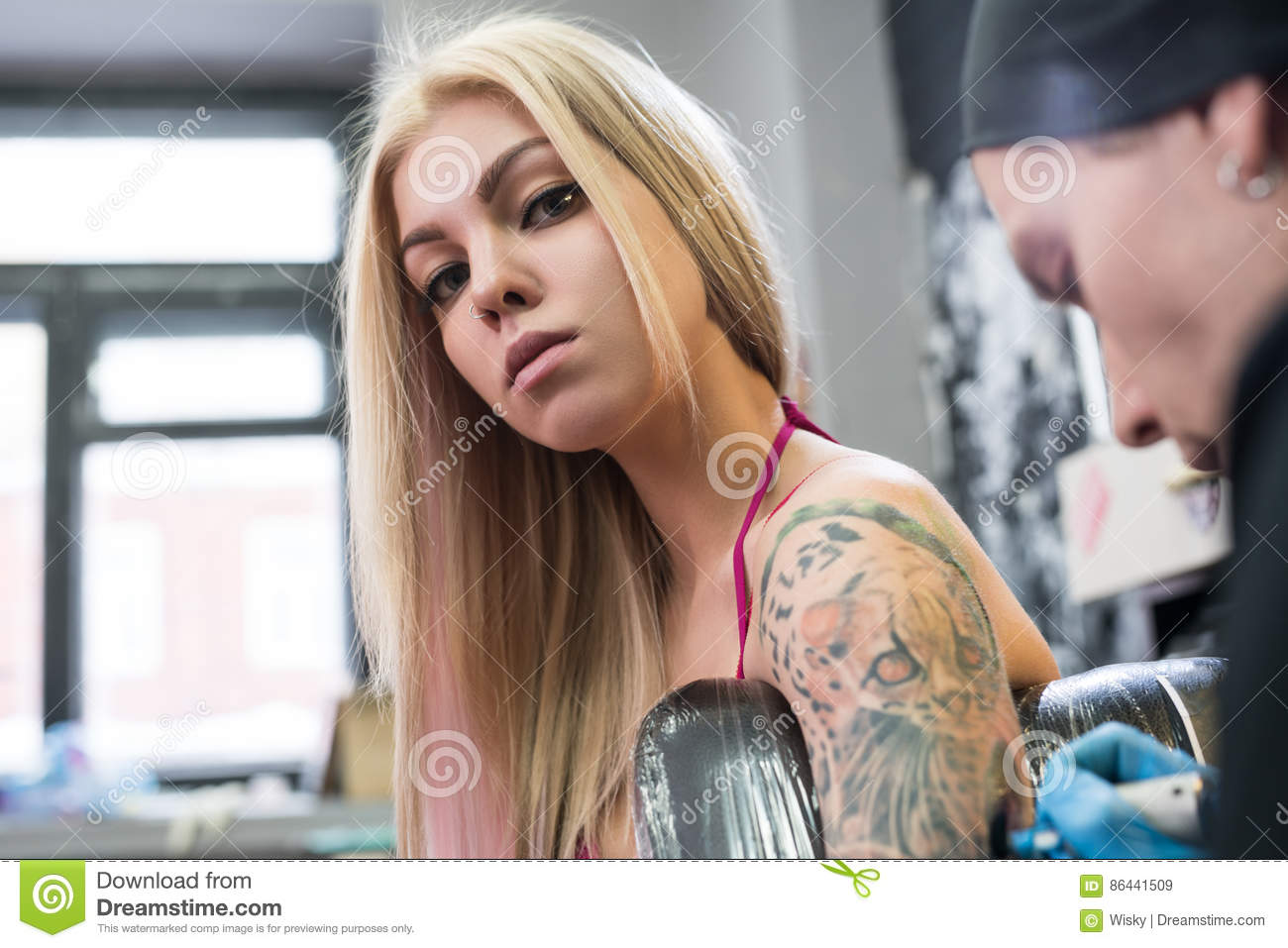 Sexy blonde with tattoos