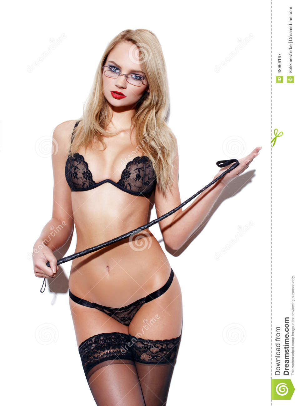 blonde woman in glasses with whip stock photo   image