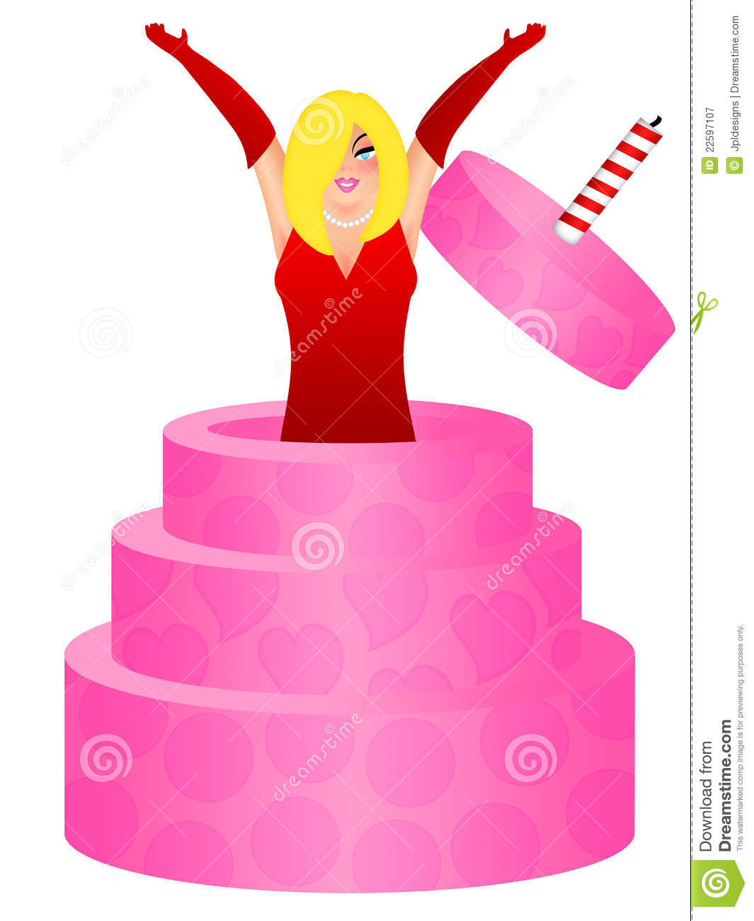 Magnificent Blonde Woman Jumping Out Of Birthday Cake Stock Illustration Funny Birthday Cards Online Hetedamsfinfo