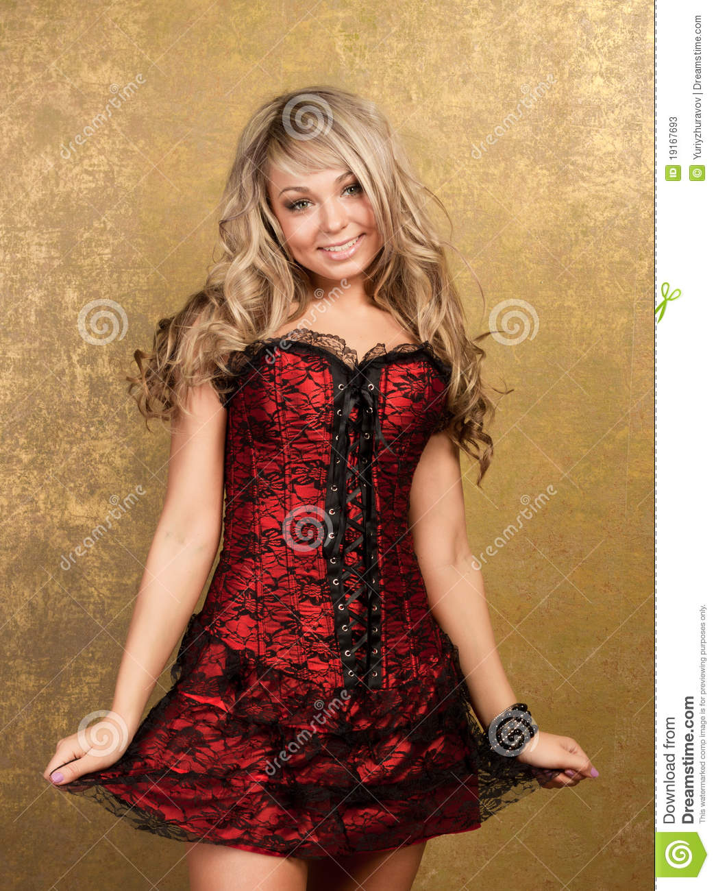Blonde Woman In Red Seductive Dress Stock Image - Image Of -1104