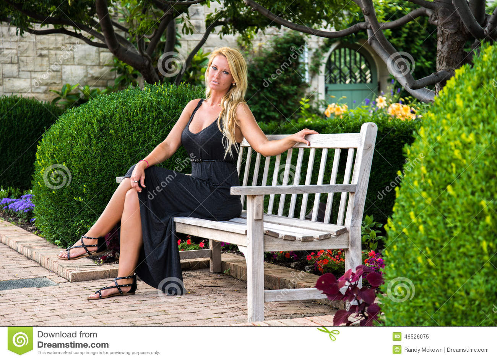 Blonde Woman Sitting On Bench Fashion Stock Image Image