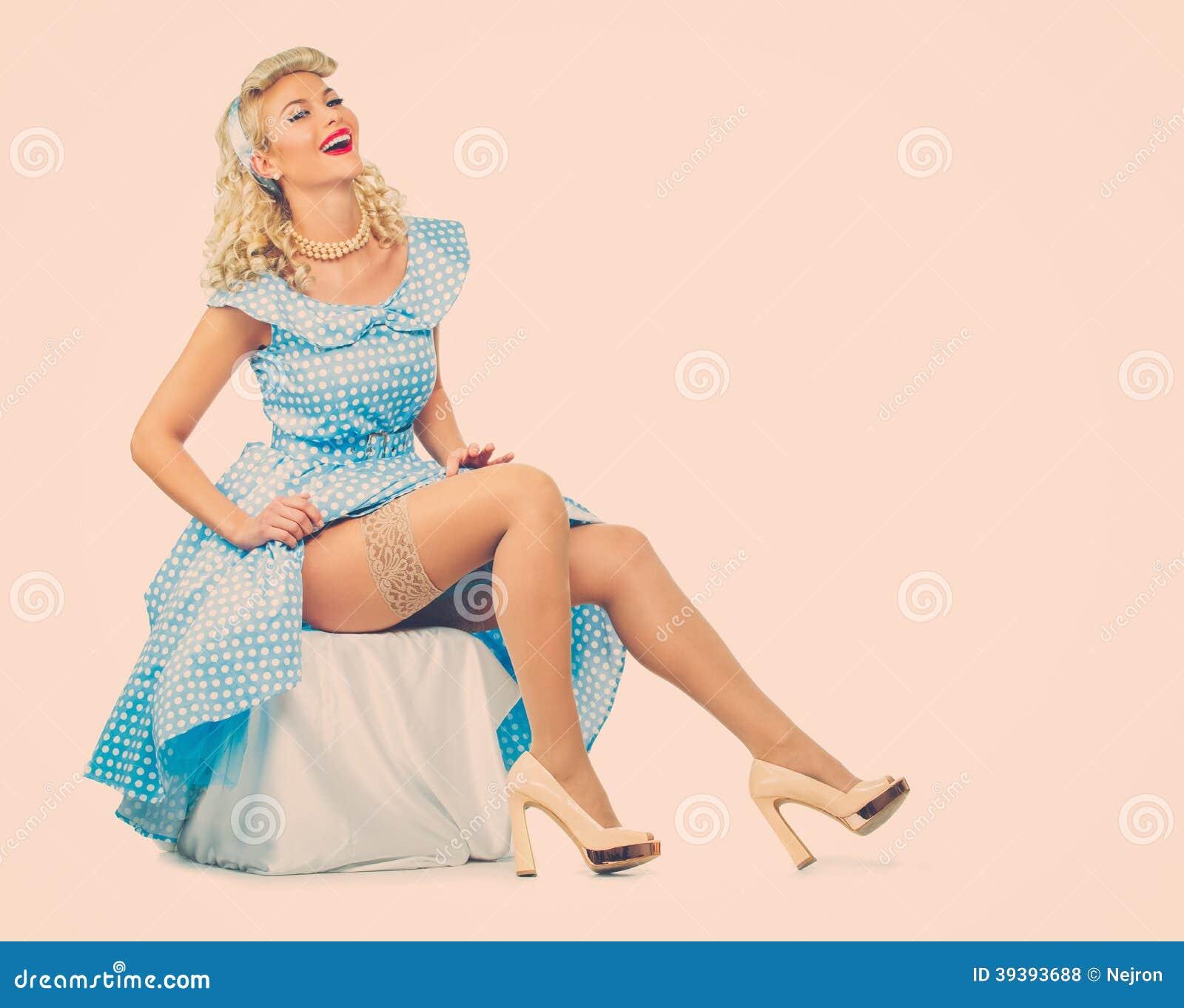 Sexy blonder Stift herauf Frau