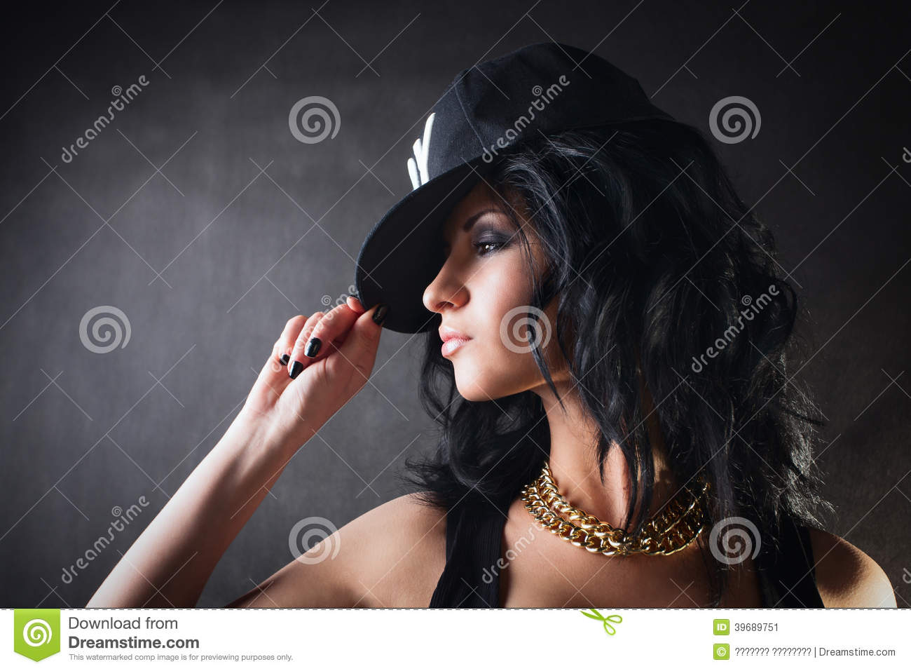 Brunette In Cap Swag Girl Fashion Stock Image Image Of