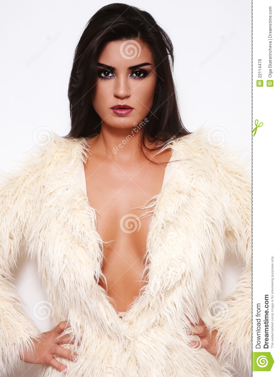 Brunette in fur coat stock photo. Image of girl ...