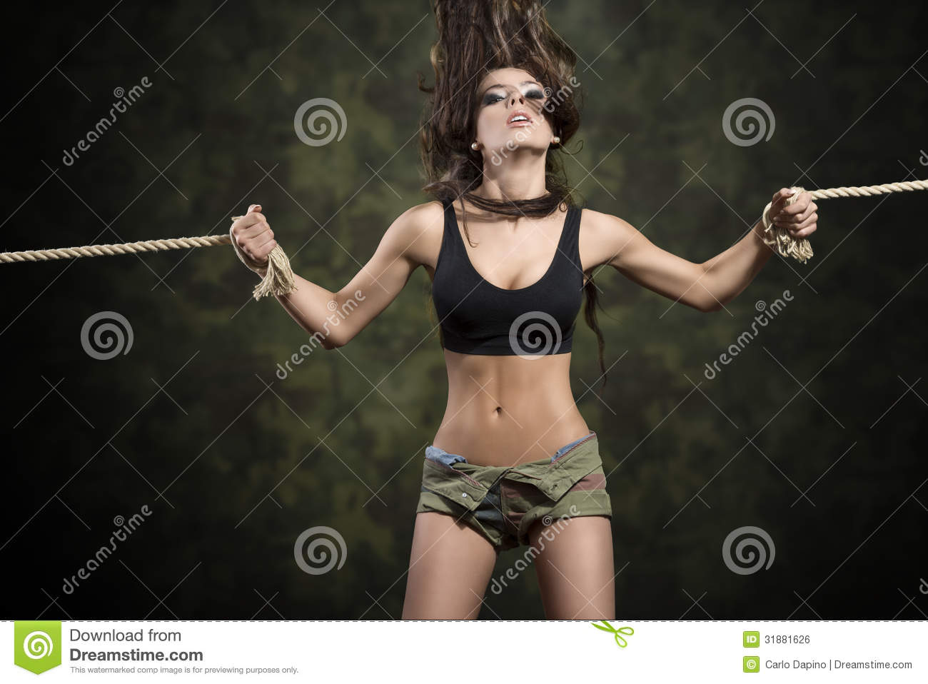 Sexy Brunette Girl Tied By Rope Royalty Free Stock Image -1413