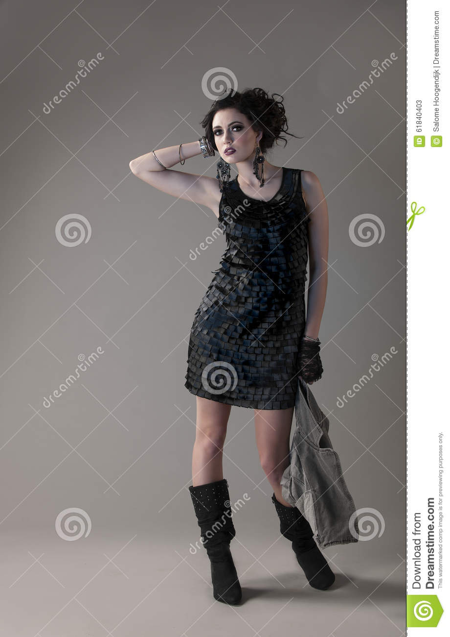 bf5f2c69f Brunette In Short Dress And Black Boots Stock Image - Image of ...