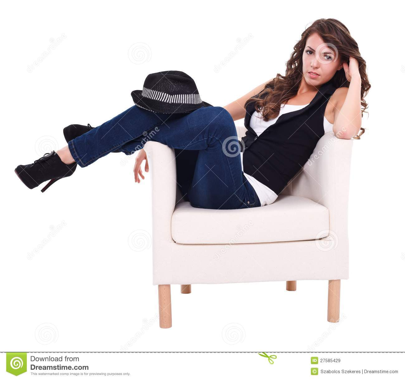 Sexy brunette sitting in armchair royalty free stock for Sitting in armchair