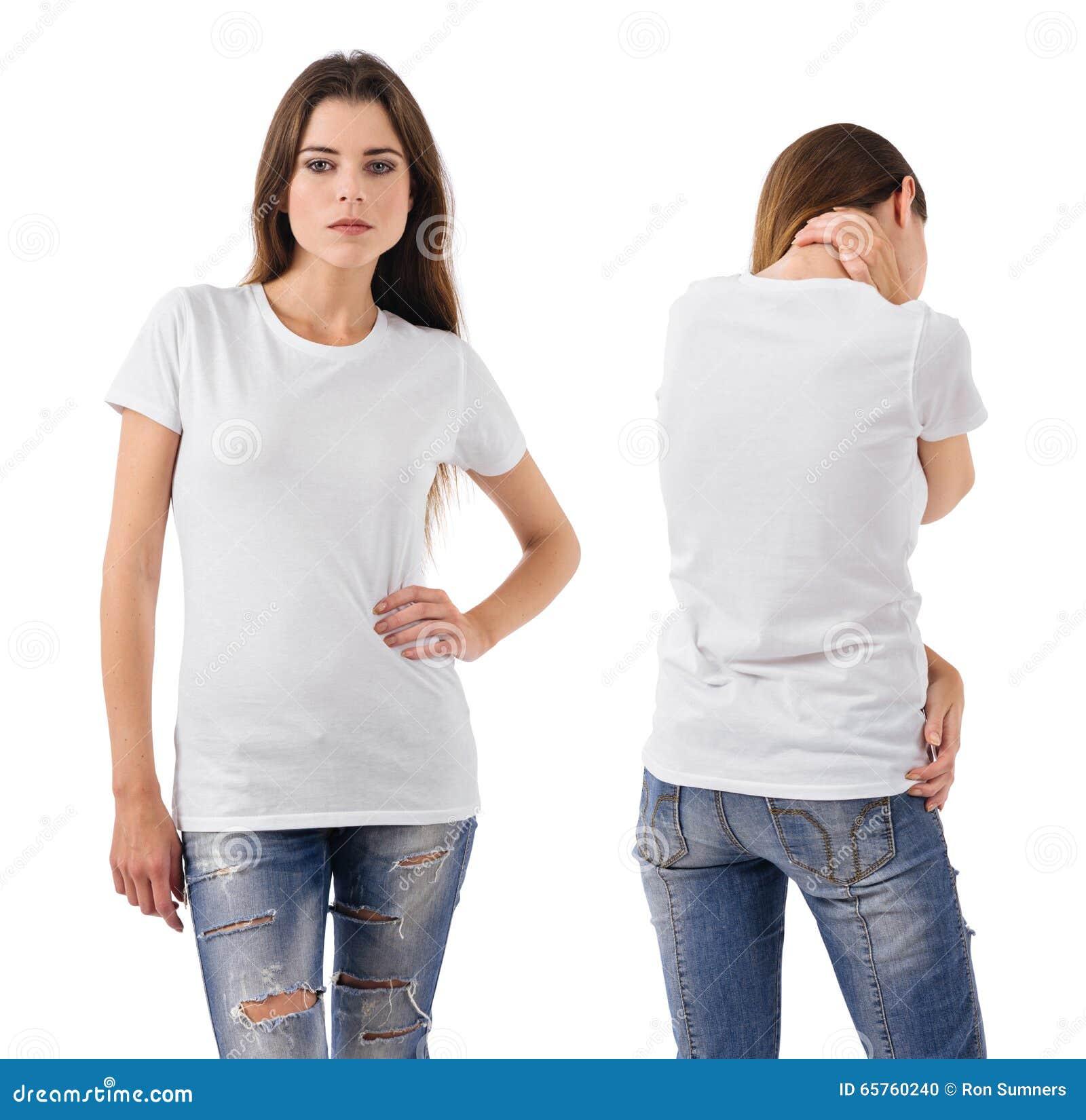 Brunette Wearing Blank White Shirt Stock Photo