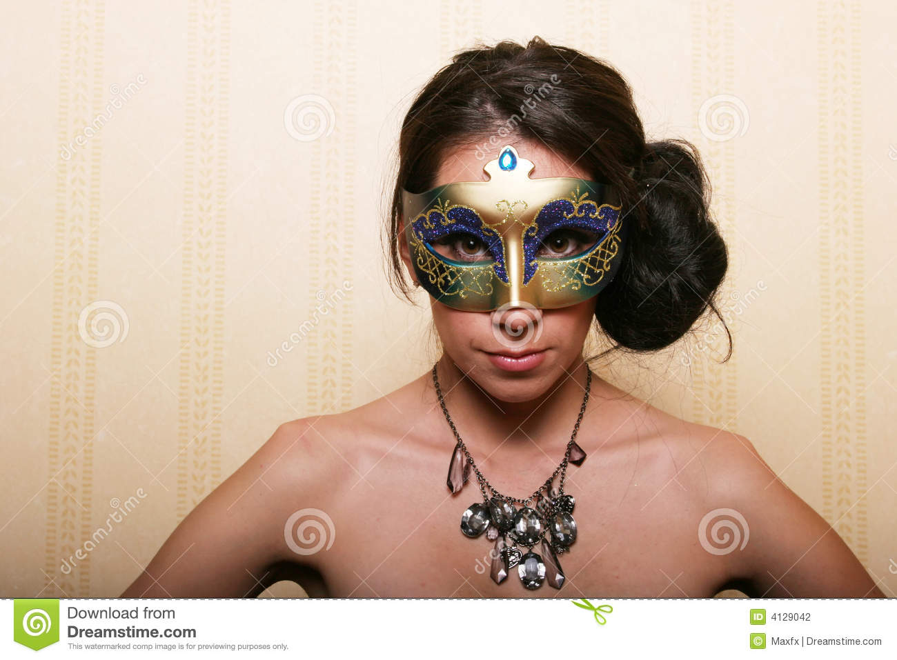 Brunette wearing a mask