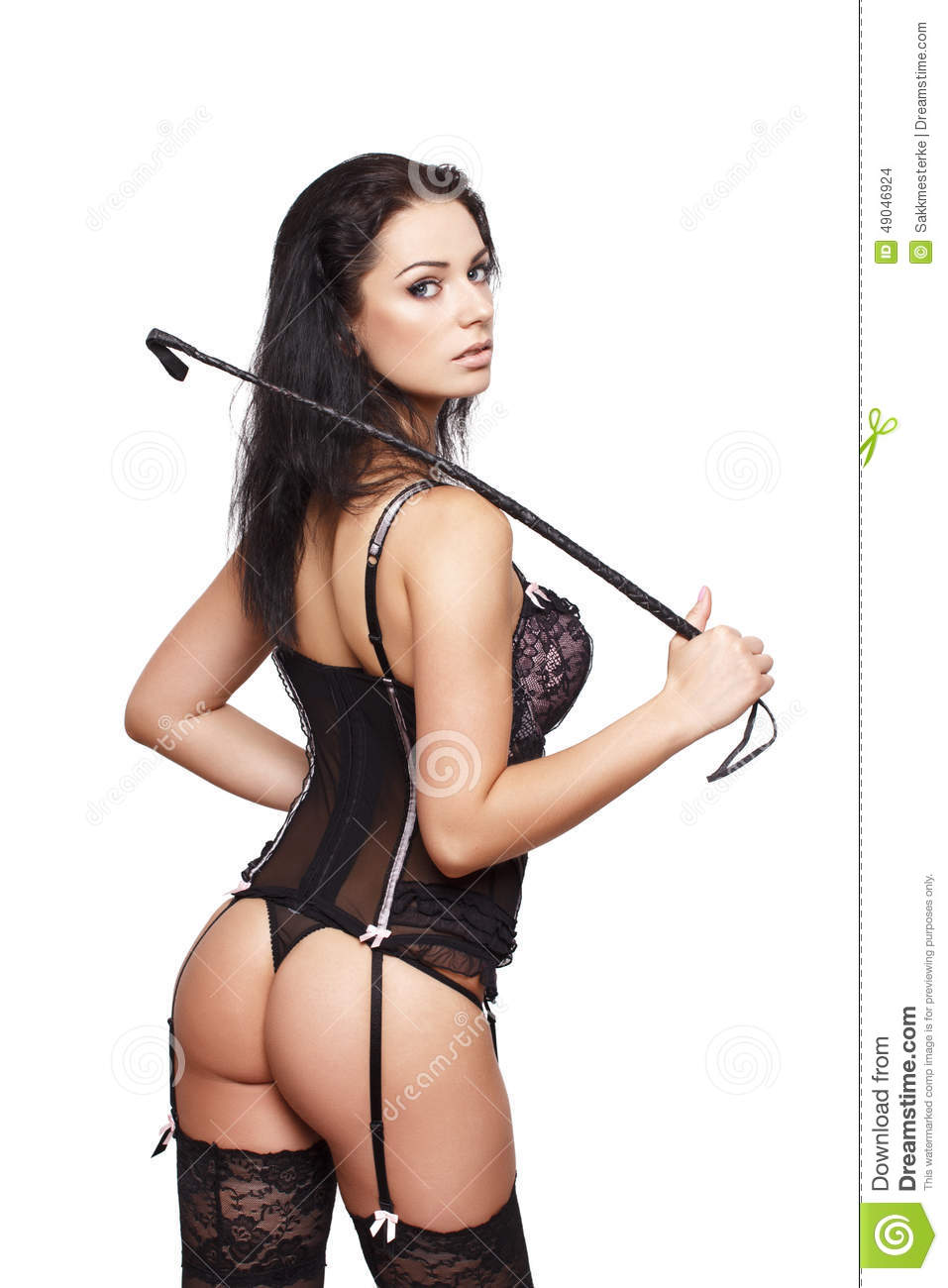 with whip posing Brunette