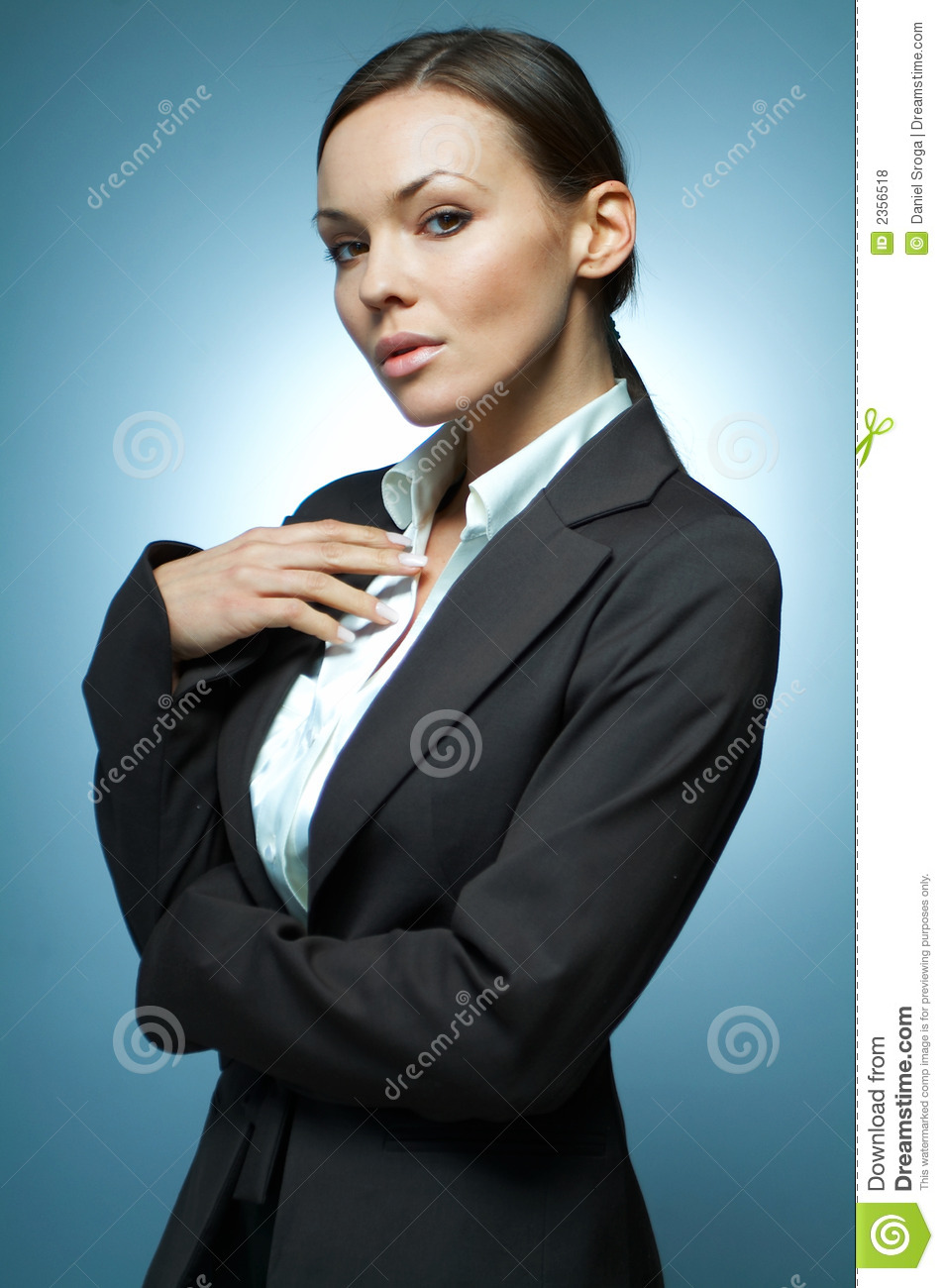 Beautiful and brunette business woman isolated on clear background.