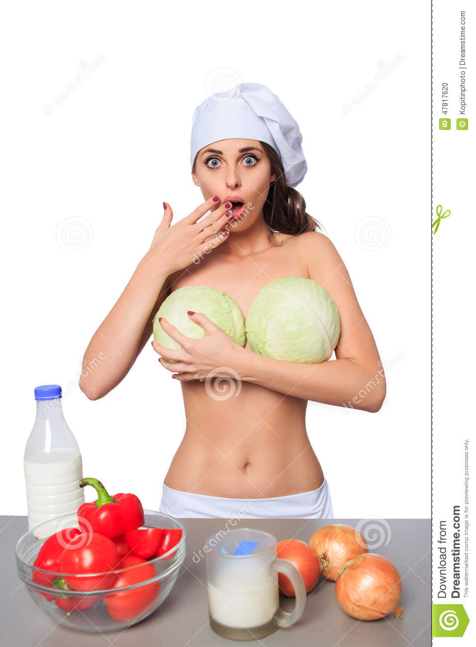 Chef, big tits, cabbage. stock photo. Image of girl ...