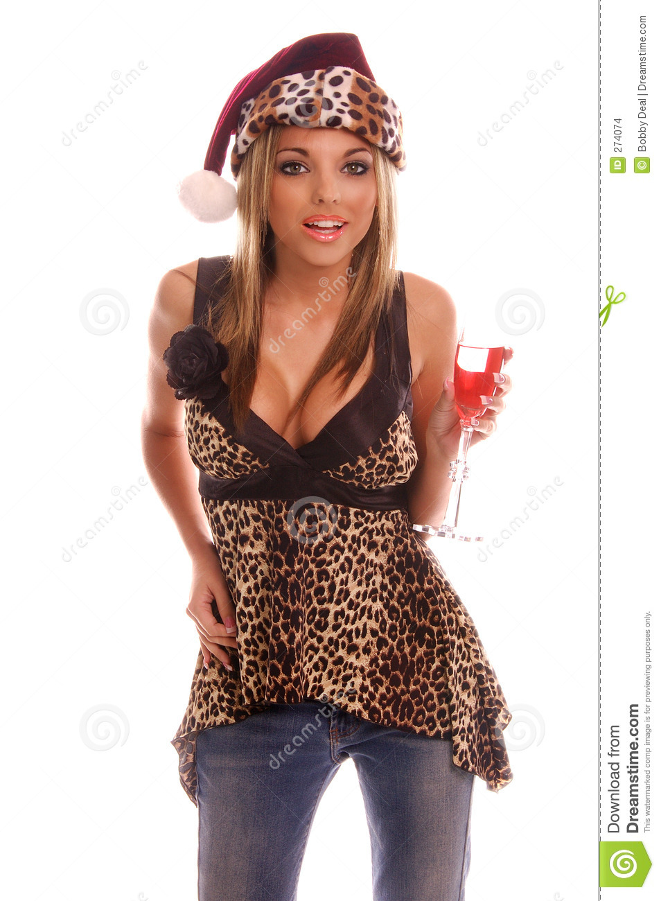 very sexy Christmas party goer in jeans and a leopard print top ...