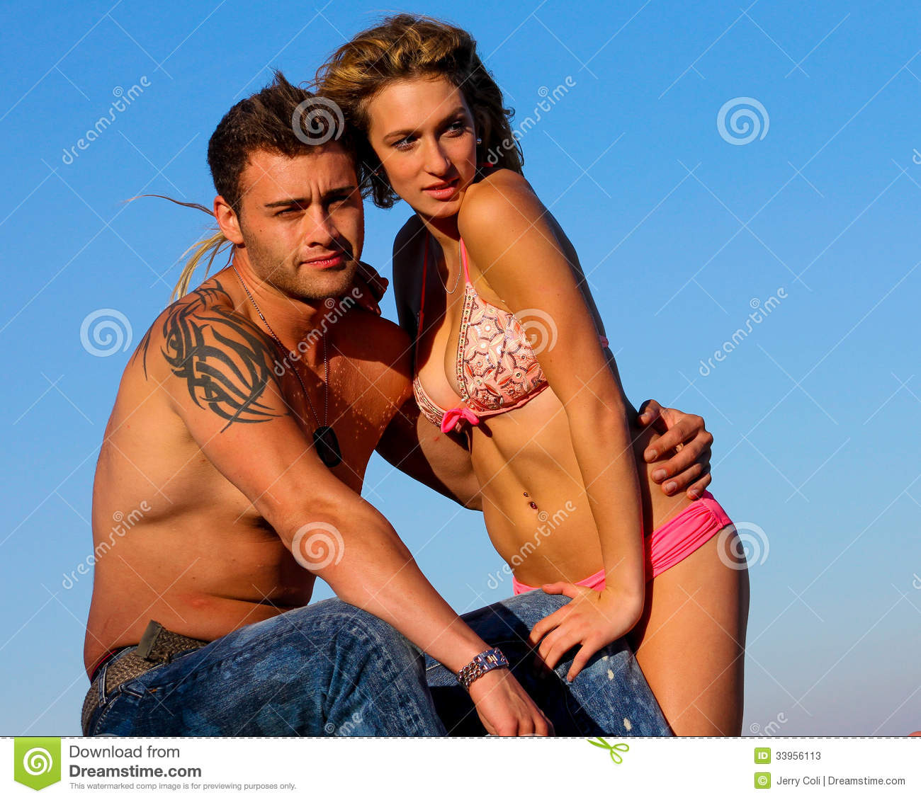 Couple At The Beach Stock Image Image Of Caucasian: Couple At The Beach Stock Image. Image Of Love, Tatoos