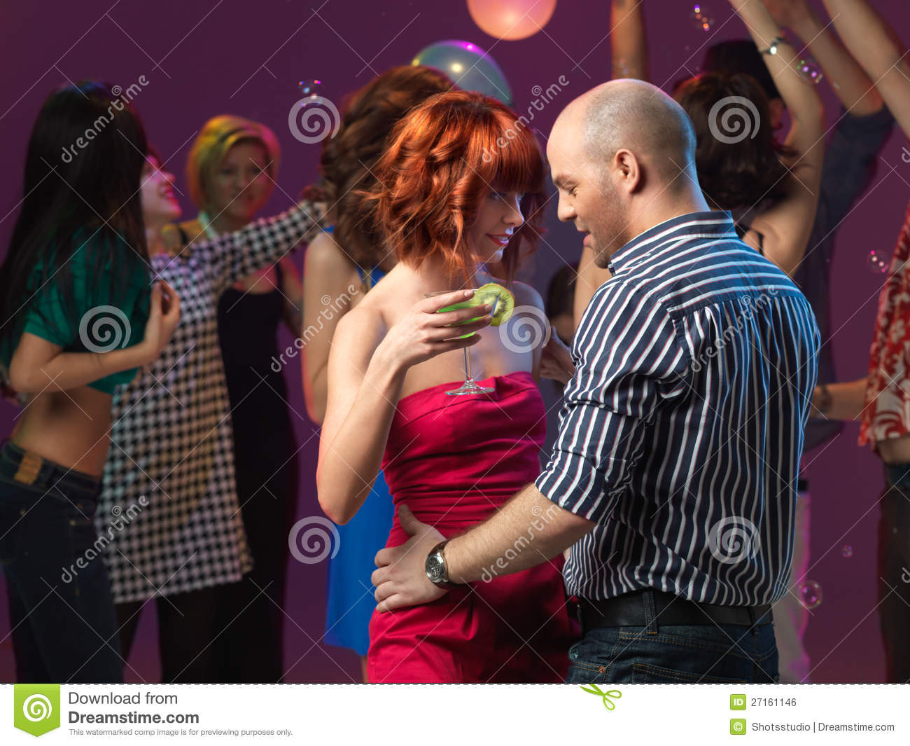 Couple Dancing Flirting Night Club Royalty Free Stock Image