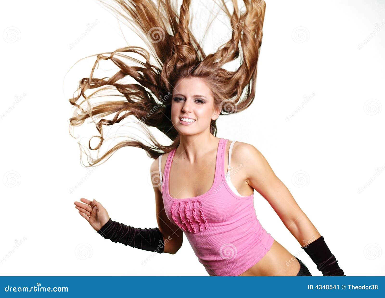 photo sexy dancer girl flipping hair