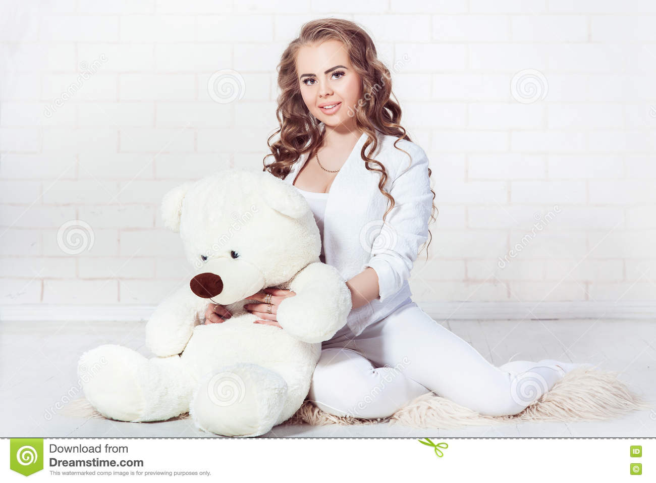 Cute Adult Girl With Plush Bear Stock Photo