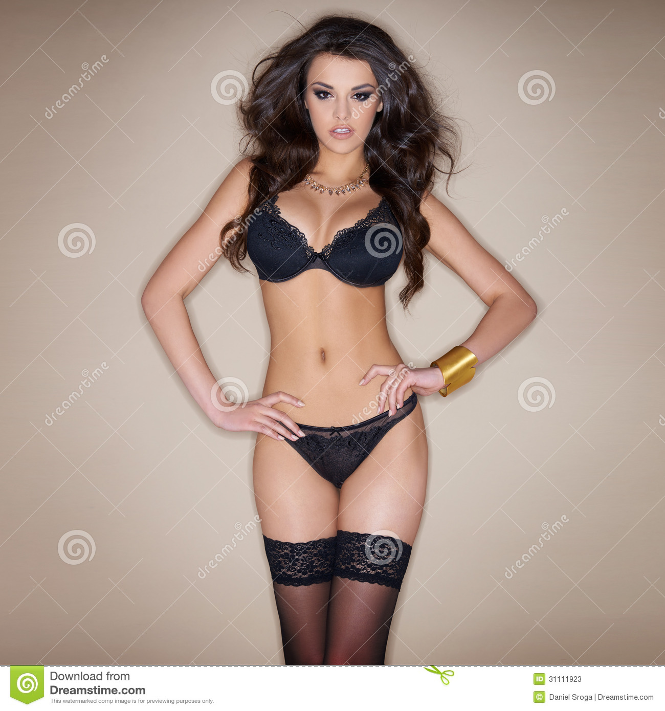 Dark Haired Woman Posing In Black Lingerie Stock Image - Image of ... 895a00ff7