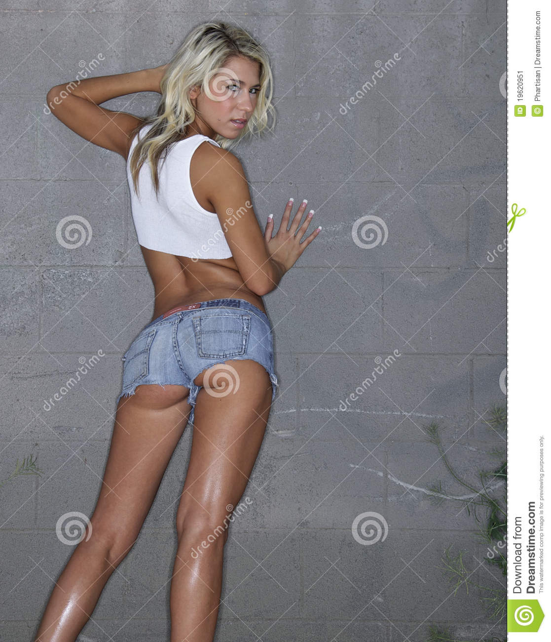 image Girl wearing tiny shorts