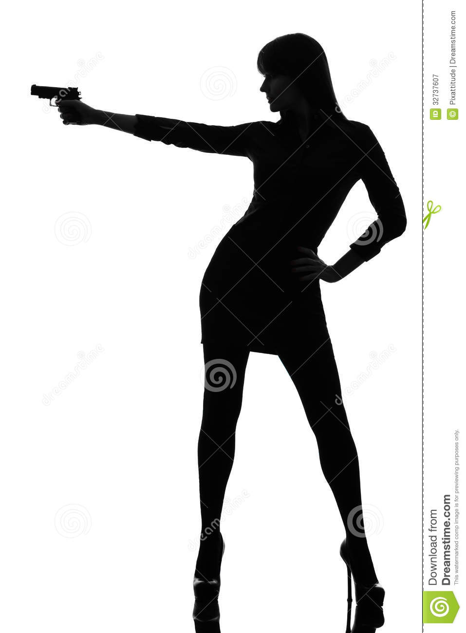detective woman holding aiming gun silhouette stock image image of