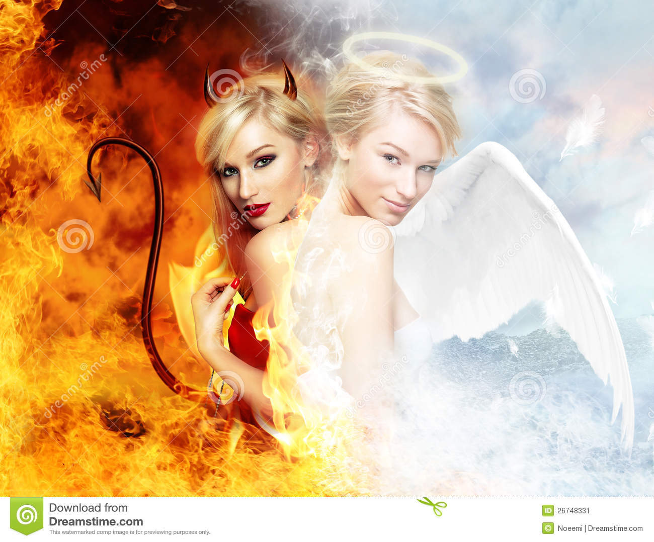 Sexy Devil Vs Gorgeous Angel Stock Image - Image: 26748331