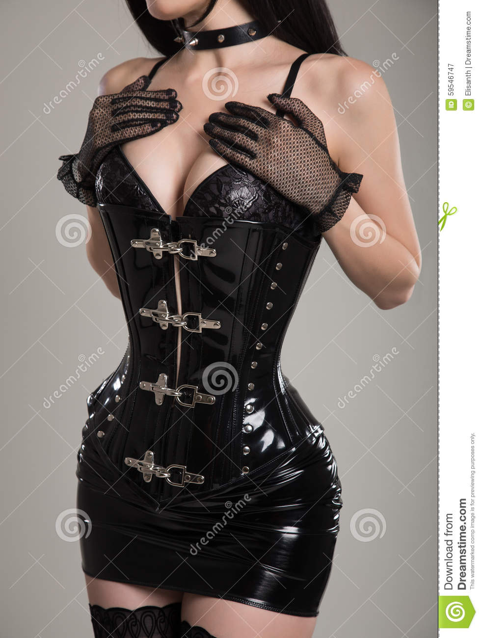 Dominatrix Woman In Black Fetish Corset Stock Image ...