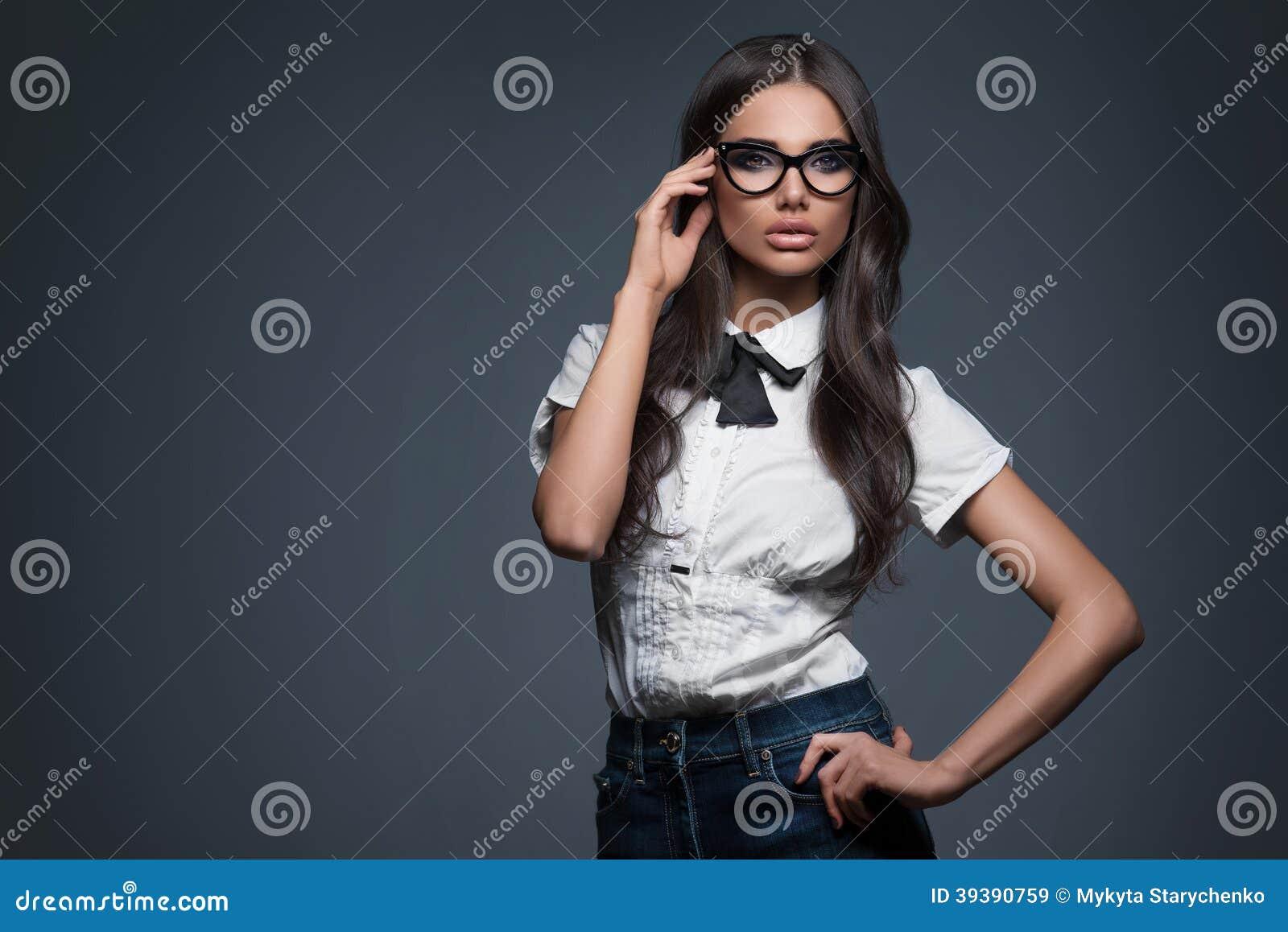 elegant woman in glasses