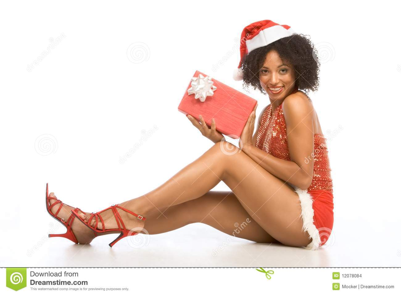 Sexy Ethnic Woman In Hat With Christmas Gift Stock Images -3994