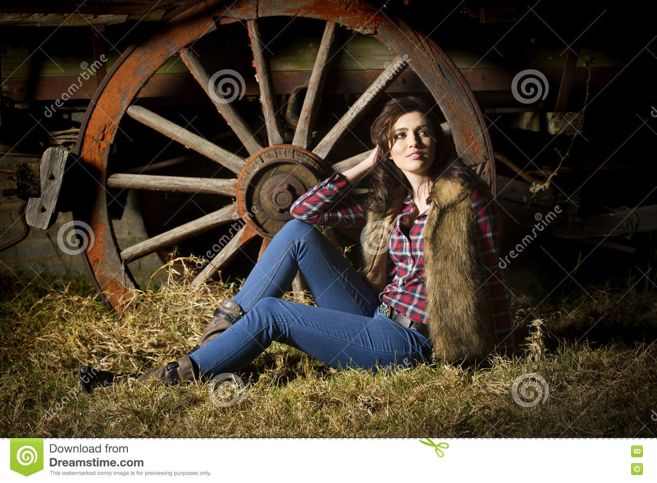 Farm Girl Posing In Front Of Rustic Wagon In Barn Stock Photo - Image Of Checked -3997