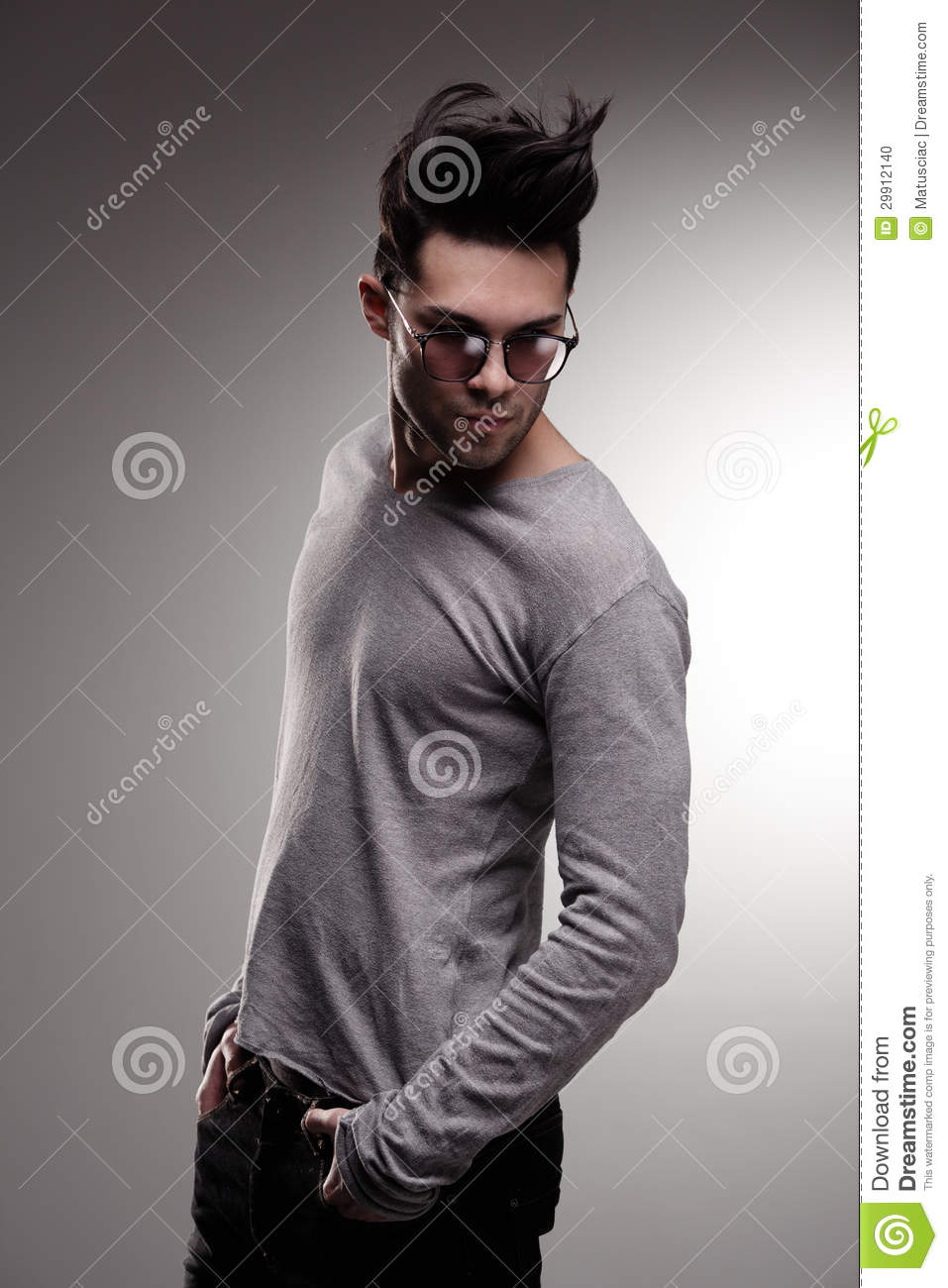 Fashion Man Model Dressed Casual Posing Dramatic In The