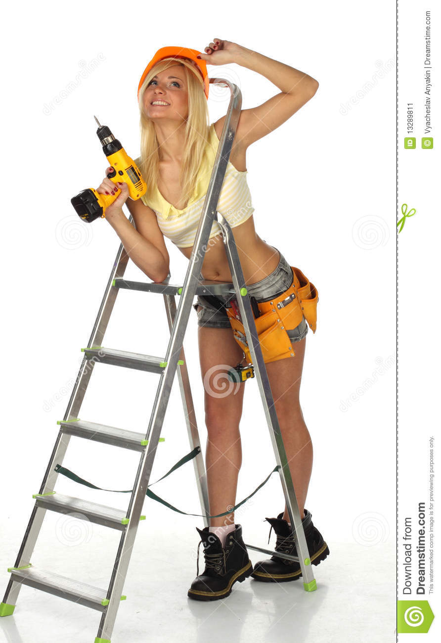 Hot female construction workers