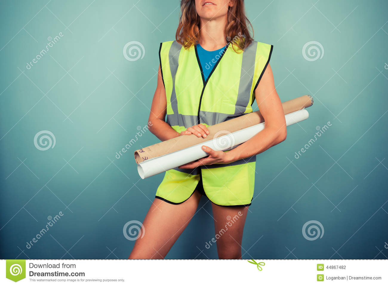 Female engineer with plans stock photo image of blueprint 44867482 download comp malvernweather Choice Image