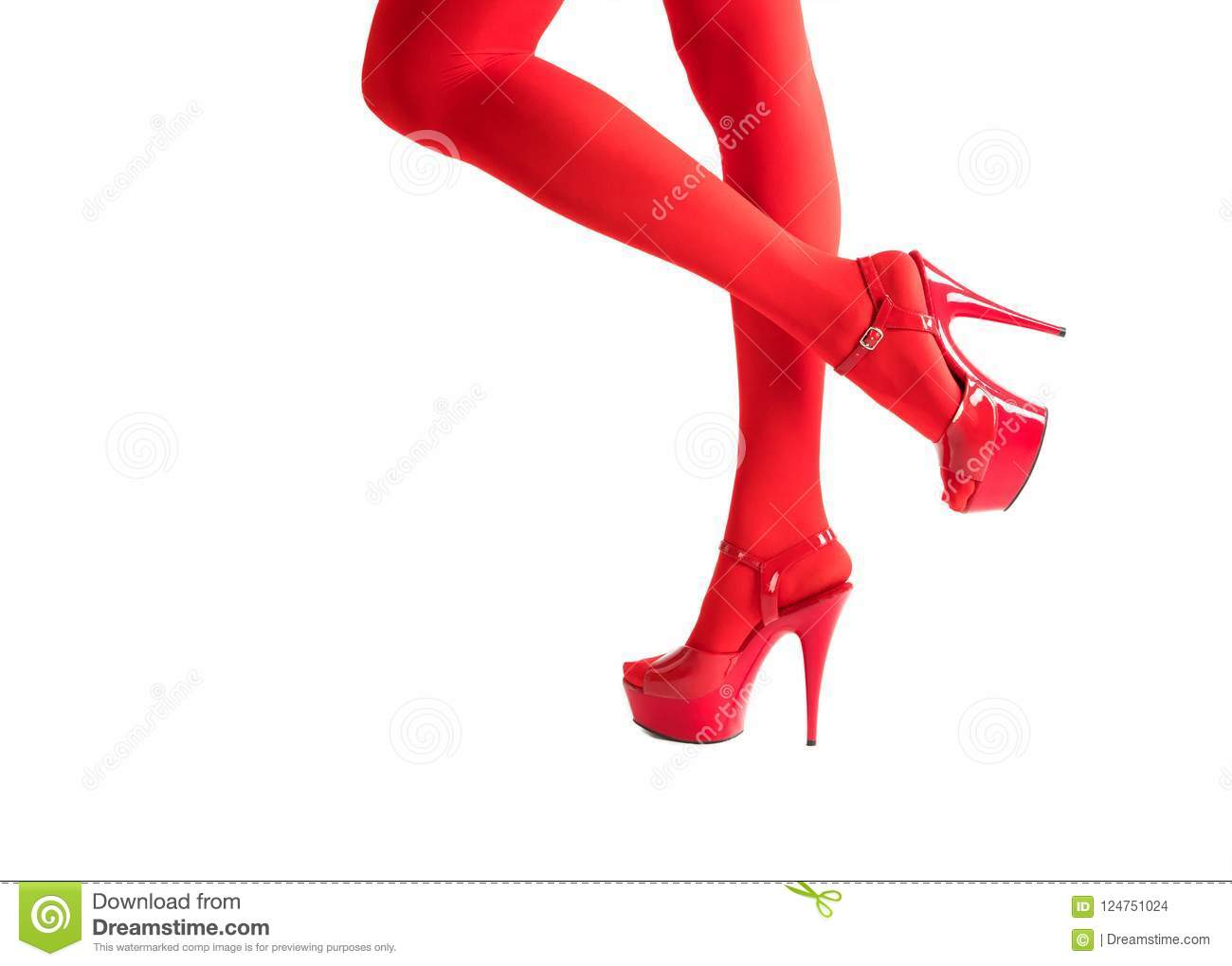 Female Legs In Fetish Red Stockings And Red High Heels Isolated